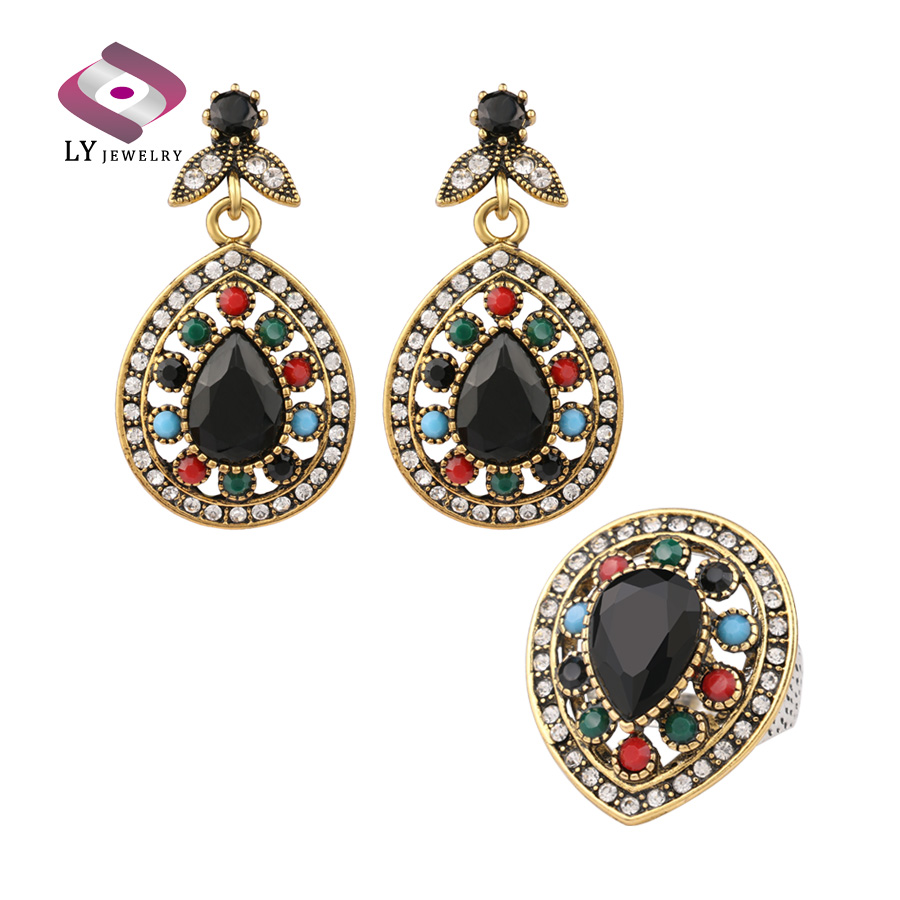 New Design Black Onyx Classic Droplets Wedding Jewelry Sets Gorgeous lady Earring&Ring Sets Free Shipping(China (Mainland))