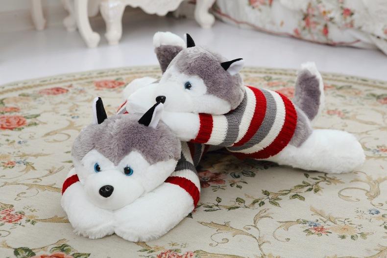 70cm Piece High Quality New Cute Husky Dog Plush Soft & Stuffed Doll Dressed Plush Puppy Birthday Gift(China (Mainland))