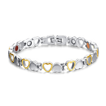 Fashion Healthy Magnetic Bracelet Men/Woman Heart  Design 316L Stainless Steel Health Care Elements Bracelet  Hand Chain Jewelry(China (Mainland))