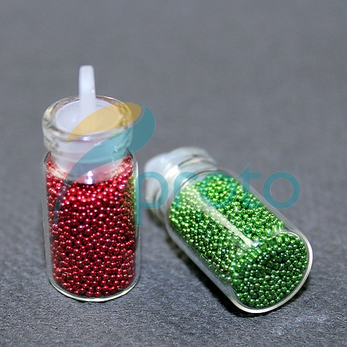 Freeshipping-12 Color Tiny Circle Bead Decoration 3D Nail Art Caviar Nail Art Bottle Set SKU:D0057X