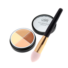 MENOW Professional Makeup 4 Color Foundation Face Concealer Cream & Sponge Makeup Brush Liquid Cream Foundation Cosmetic Tool(China (Mainland))