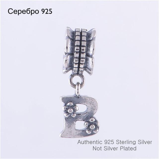 Оптовая продажа 925 буквица алфавит B мотаться шарм бусины , пригодный для европейских мода пандора браслет делая