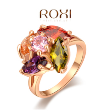Roxi Fashion Women's Jewelry High Quality Ring Rose Gold Plated Multi-Color Swiss CZ Hand Made