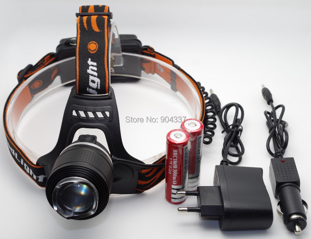 CREE XML T6 LED Headlight Headlamp Torch Flashlight Zoomable 2000lm 2 x Rechargeable 18650 Battery charger Waterproof Design(China (Mainland))