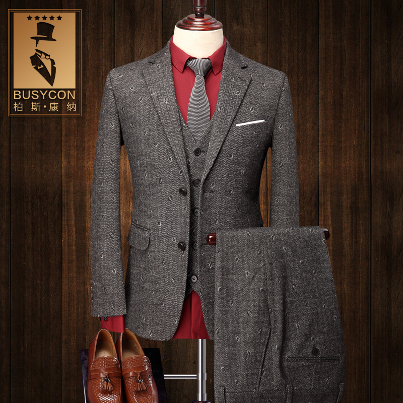 Grey Men Wool Suits Wedding Groom Terno Slim Fit Eye Prismatic Brand-Clothing new design classic men's suit prom party blazer