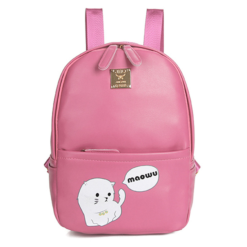 2015Preppy Style Character  Leather Backpack Women Korean School Printing Mochila Escolar Sac Animal Backpacks For Teenage Girls(China (Mainland))