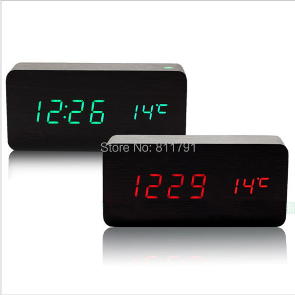 4 Color LED wooden Board alarm clock+Temperature thermometer digital table clock voice activated,Battery/USB power / despertador(China (Mainland))
