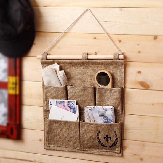 Cheap Creative Bag 5 pocket bag door to hang Household Storage Bag hanging wall pockets(China (Mainland))