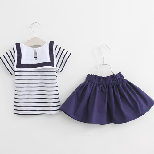 new arrive sweet Small girls navy wind Striped Collar T shirt + skirt suit kids clothes beautiful baby(China (Mainland))