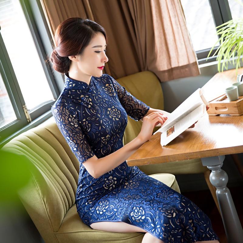 สีฟ้าวินเทจสตรีลูกไม้ยาวCheongsamจีนแฟชั่นสไตล์การแต่งกายที่สวยงามQipaoขนาดSml XL XXL XXXL F101012 ถูก