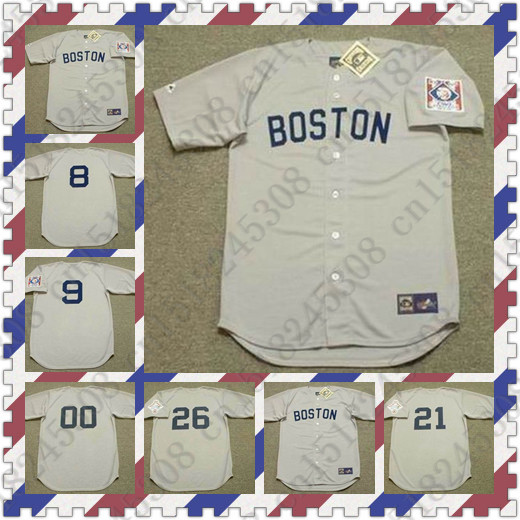 Custom TED WILLIAMS WADE BOGGS ROGER CLEMENS Baseball jersey CARL YASTRZEMSKI jersey Throwback gray Mens Stitched jerseys