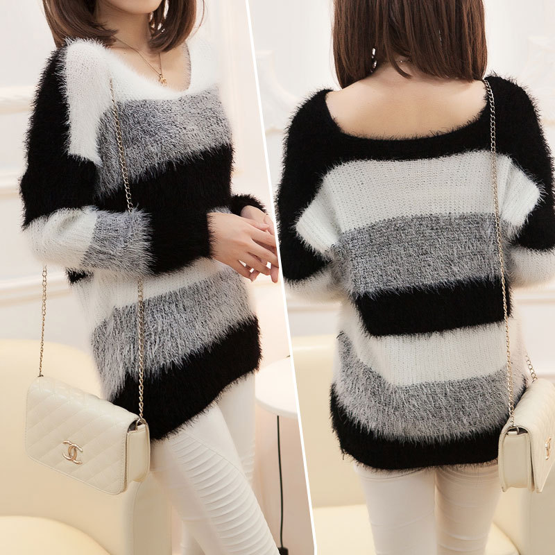 Women's Fashion Striped Pullover Crochet Sweater Casual Plus Size Tops Knitted Jumper For Handsome Maternity Sweaters(China (Mainland))