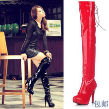 11 japanned leather back strap knee-length boots high-leg boots high-heeled platform boots steel pipe dance boots(China (Mainland))