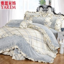2016 New 100% Cotton Dimensional carved velvet four Bedding Set pastoral Duvet cover Full/Queen/King size Bedspread Bed linen(China (Mainland))