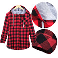 Plaid Side Zipper Scotland Long sleeved Casual Shirt Hiphop Black And White Blue And Red Hoodies