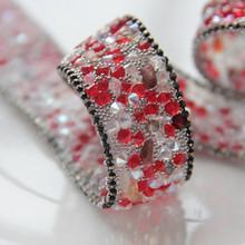 Fabulous con cuentas de encaje frontera, faux rubí rojo joya de piedra, paño de DIY decoraciones, Decora señora desgaste de la muchacha vestido formal accesorio(China (Mainland))