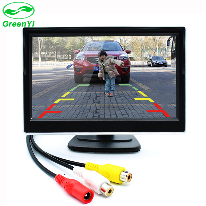 GreenYi 5 Inch Car Monitor TFT LCD Screen Digital Color Rear View Monitor Support VCD DVD GPS Camera with 2 Video Inputs(China (Mainland))