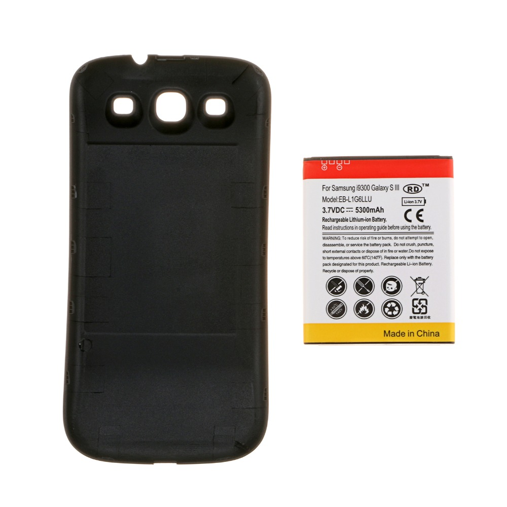 Гаджет  BIG DISCOUNT!  For Samsung Galaxy S3 III I9300 Extended Battery & Black Back Cover 5300mAh phone battery None Электротехническое оборудование и материалы