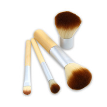 4PCS Makeup Brushes Bamboo Handle Professional Cosmetic Makeup Brush Sets Foundation Kabuki Maquiagem with Bag E