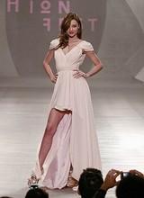 Custom made Miranda Kerr V neck Capped Sleeves Chiffon High low Celebrity Dresses Formal dresses for
