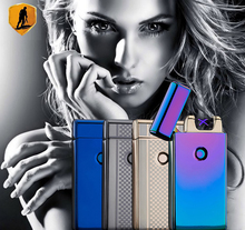 Usb charging ultra-thin windproof lighters double arc pulse arc creative personality electronic cigarette lighter(China (Mainland))