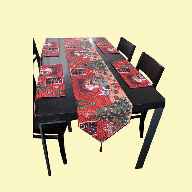 2015 New Christmas Table Runner Cotton Linen Jacquard Tablecloth Table Mat Christmas Decoration /Chemin De Table(China (Mainland))