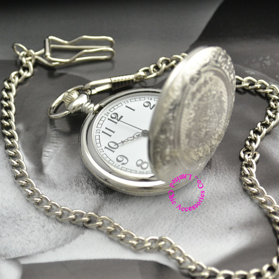 classic vintage retro antique pattern style shining white dial silver pocket watch men with waist chain