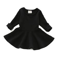 בנות שמלות ילדים שמלת נסיכת סתיו עבור תינוק בגדי בנות בגדי ילדים מוצקים ארוך כותרת Sleevel 1-4Y(China)