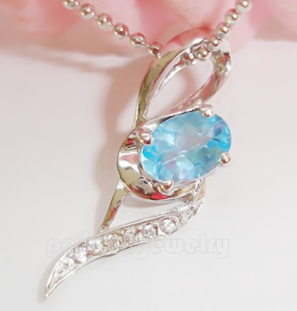 Blue topaz pendant Free shipping Natural real blue topaz 925 sterling silver pendants 1pc/jewelry box, #03(China (Mainland))