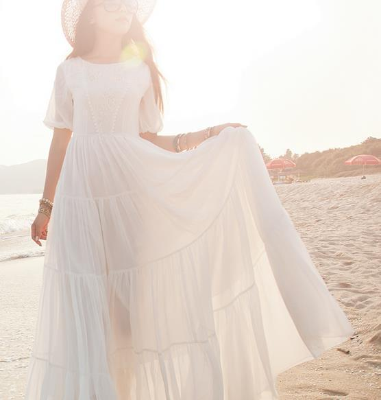 Hot Sale Bohemian Beach Dress 2015 Summer New Arrival Korean White Lantern Sleeve Chiffon Lace Waves Floor Length Women Dresses(China (Mainland))
