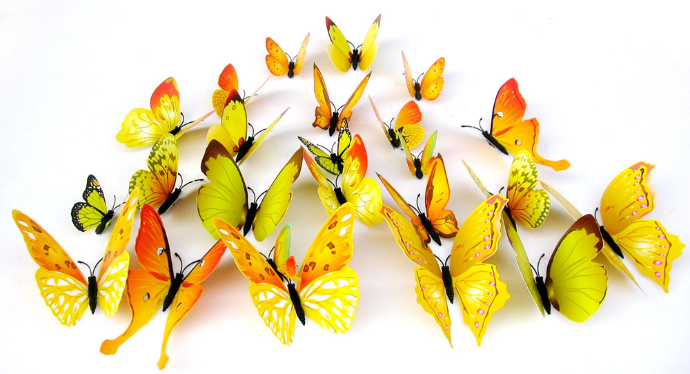 Decorative butterfly, three-dimensional simulation, 3D Butterfly Stickers, refrigerator, wedding room living room Gala(China (Mainland))