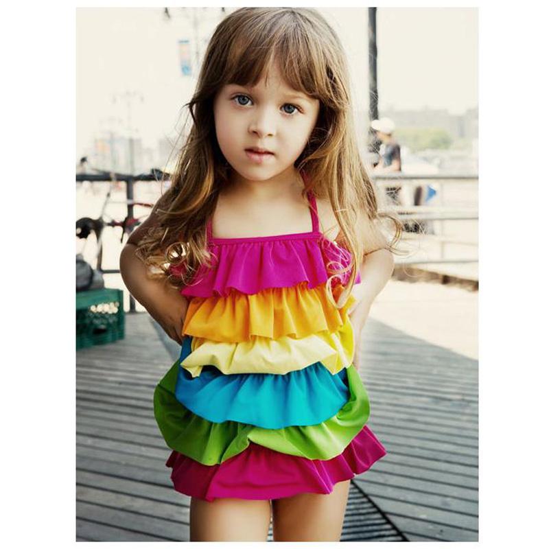 Girls Swimwear Bikini 2016 Summer One Piece Kids Swimsuit  6 Lotus Leaf Swimsuit for Girls Kids Swimwear Girls Bathing Suits<br><br>Aliexpress