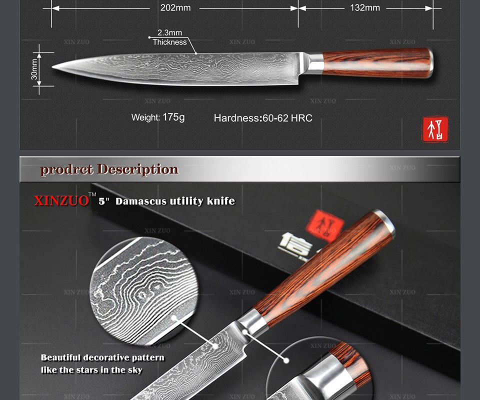 Buy 3 pcs Kitchen knife set Japanese 73 layers Damascus steel kitchen knife cleaver chef  utility knife wood handle free shipping cheap