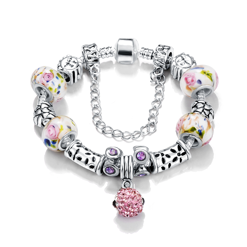 ANFASNI Vogue European Enamel Flower and Silver Tube Bracelet with Shamblla Ball Charms Bracelet for Sale PCBR0038(China (Mainland))