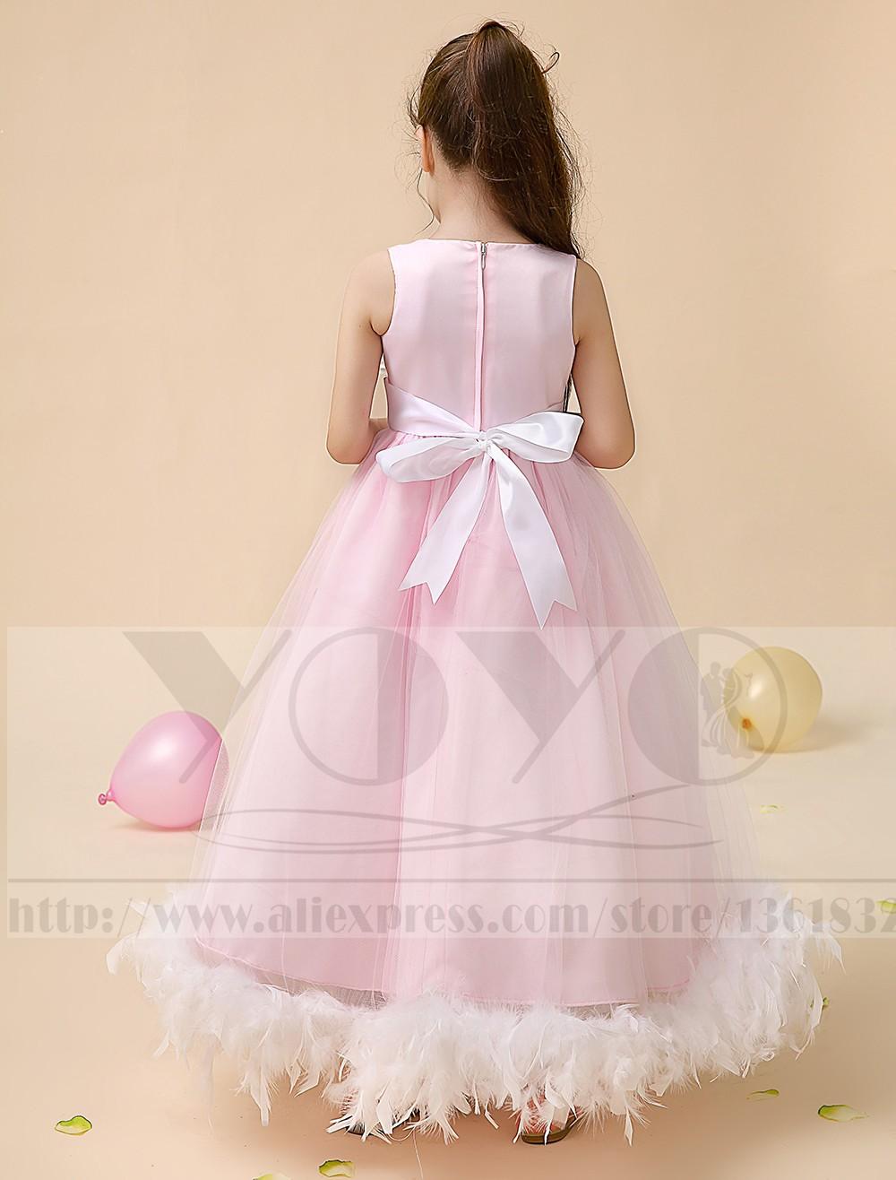 Скидки на Атласная маленькие девочки платья детей платья с перо дети девушки вечерние платья