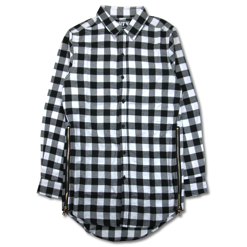 Hip hop mens dress shirt plaid shirts Long sleeve men shirts man extended white and black plaid shirt bluemen camisa masculinaОдежда и ак�е��уары<br><br><br>Aliexpress