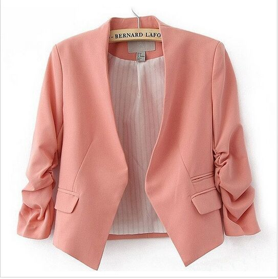 2015 New autumn Women Candy Color Slim jackets Puff Sleeve brand jacket European style plus size casual female coats and jackets(China (Mainland))