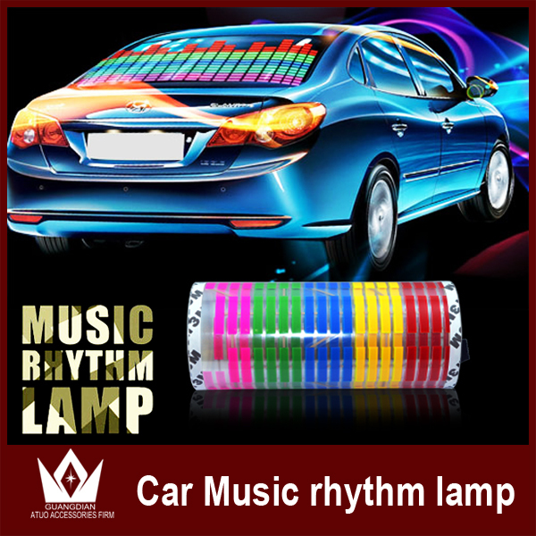 90*10cm LED Sound Activated EL Sheet Car Music Sticker Equalizer Glow Flash Panel Multi Colour Light Flashing Of the Automobile(China (Mainland))