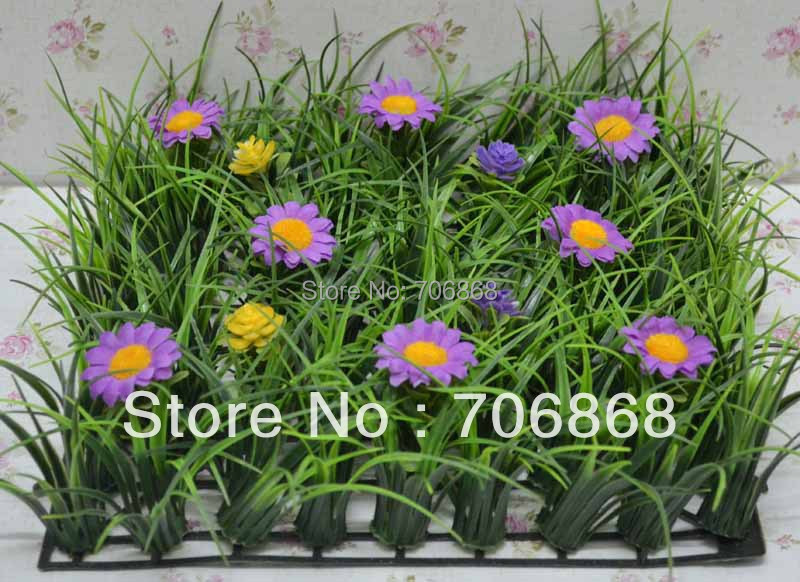 10''*10'' Artificial plastic long grass mat jungle grass mat boxwood mat with flower wedding garden decoration table runner 11(China (Mainland))
