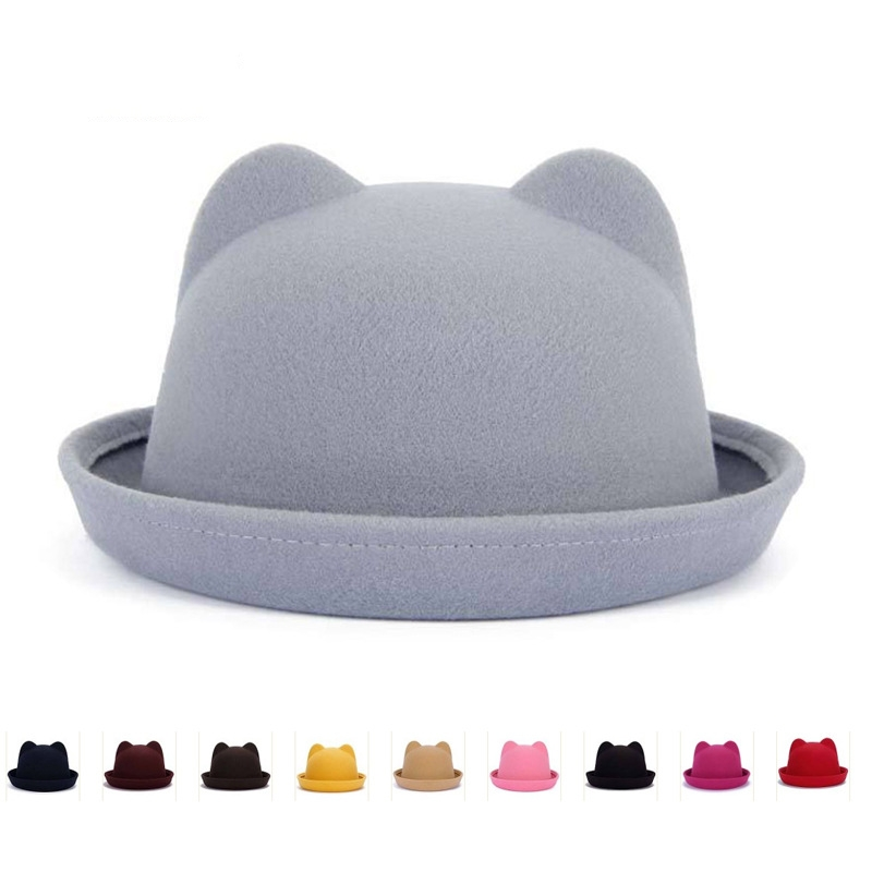 Autumn And Winter New Woolen Cat Ears Ears Equestrian Dome Hat Couple Caps Parent - Child Hat Wholesale Trade L9 VN1367(China (Mainland))