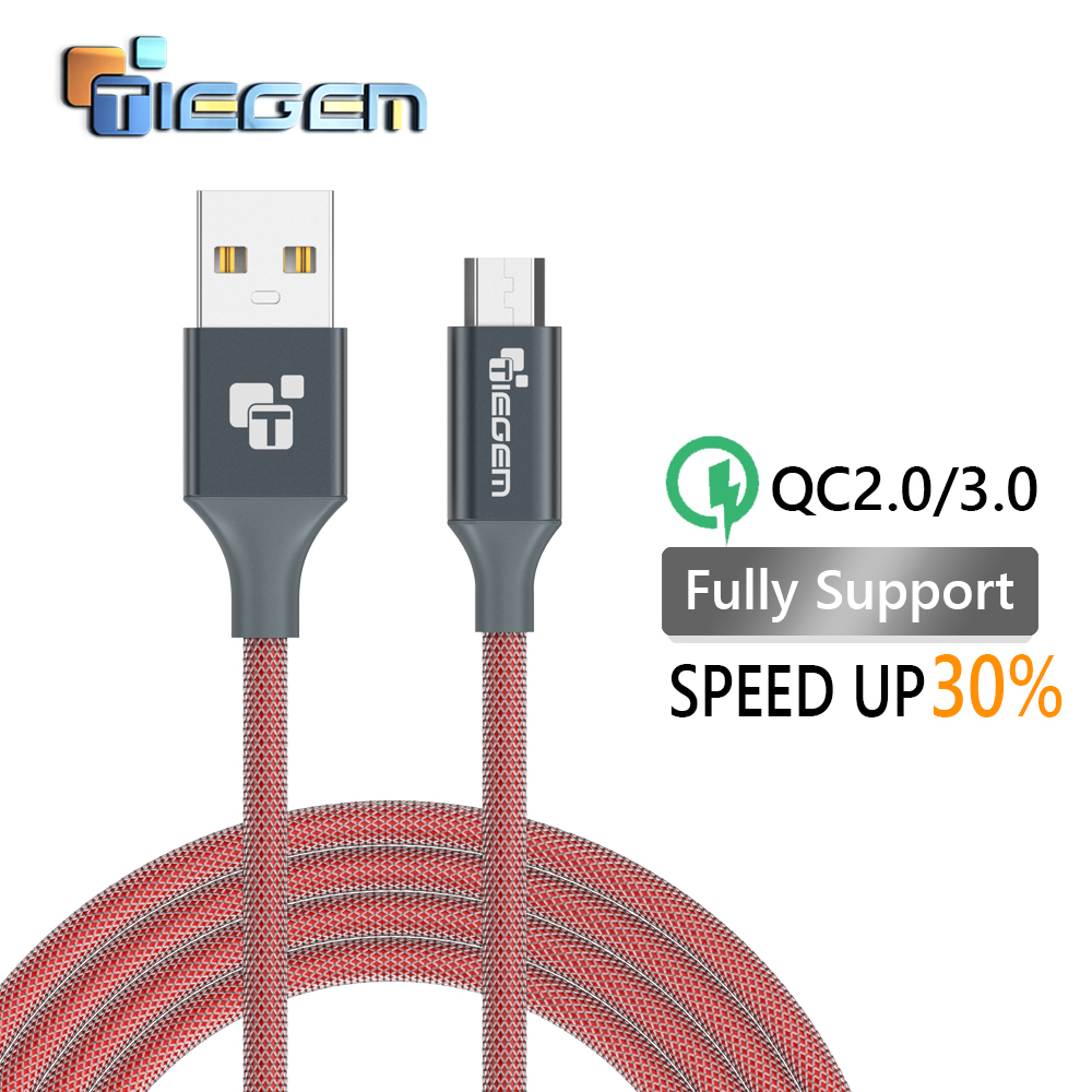 TIEGEM Micro usb Cable for Samsung galaxy S7 HTC MEIZU SONY Android 3m 2m Fast Charge Nylon USB Charger Cable phone accessories(China (Mainland))