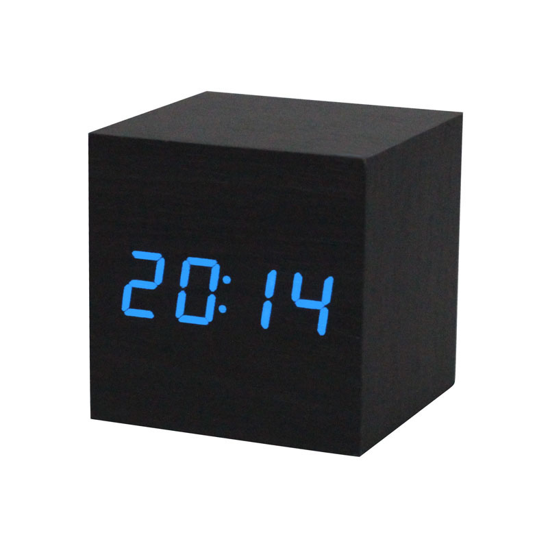 2016 Brand New Design Style LED Black Wooden Wood Desk Alarm Clock Creative Sound Alarm Clock Square Digital Clock(China (Mainland))
