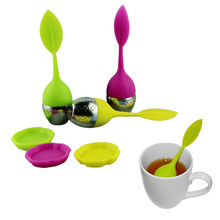 Stylish 2015 high Quality 3pcs lot cute Silicone tea infuser Teapot Coffee Tea Sets Leaf Design