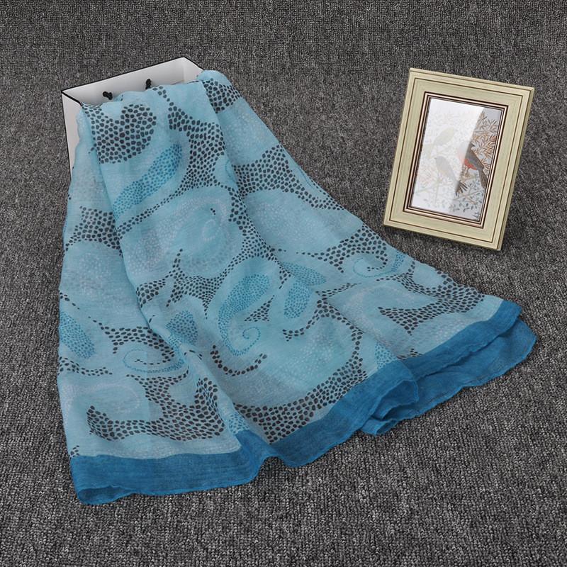 5pc/lot 180*90cm Blue Japanese Ethnic Scarves and Shawls for Women dot flower print viscose Bandana and Pashmina for Ladies(China (Mainland))