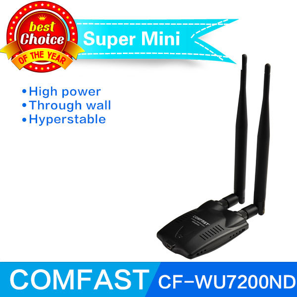 High power 300Mbps usb wifi adapter Ralink 3072 802.11b/g/n Wireless Network Card Adapter with dual 6dBi antenna free shipping(China (Mainland))