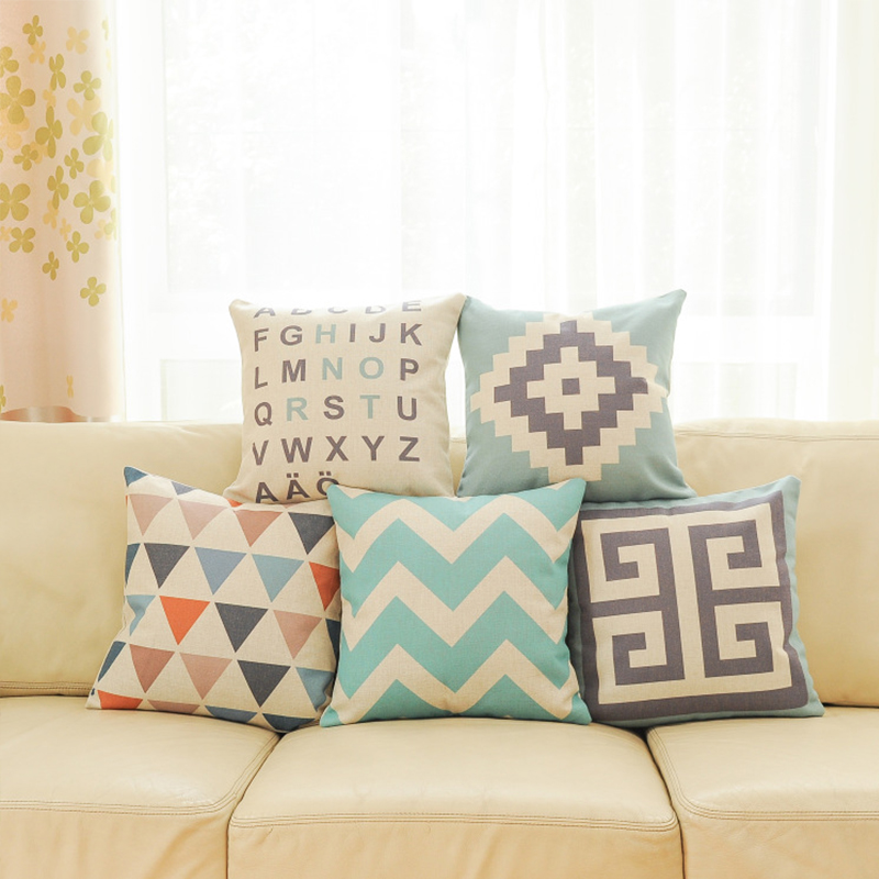 Top Finel 2016 Geometric Decorative throw Pillow case Linen Cotton Cushion Cover Creative decoration for Sofa