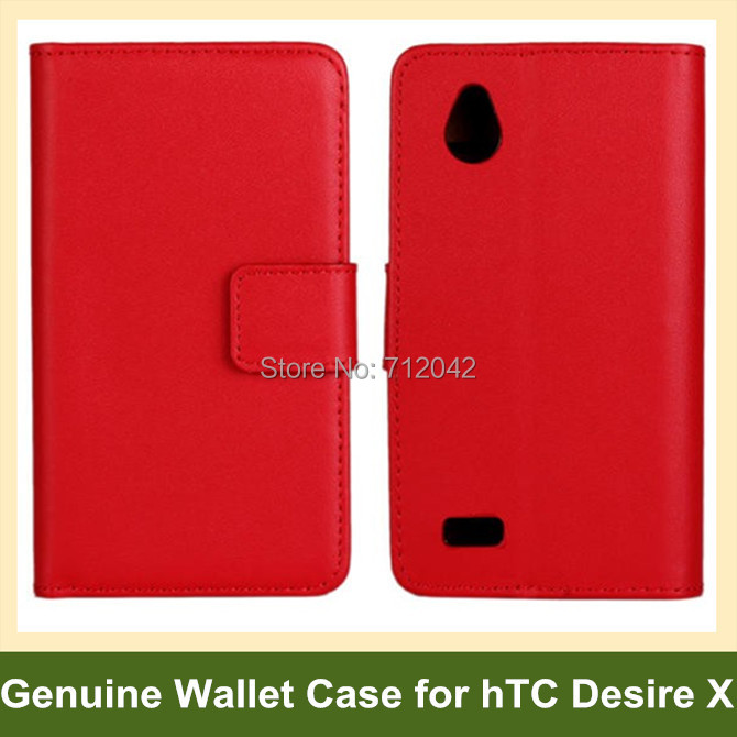 Cool Genuine Leather Folding Wallet Flip Cover Case for hTC Desire X T328e 10pcs/lot Free Shipping