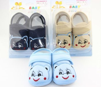 Free Shipping 1pairs/lot Blue Occasion Smile Face Slippers Baby Shoes, Wholesale Flats Walkers Shoes