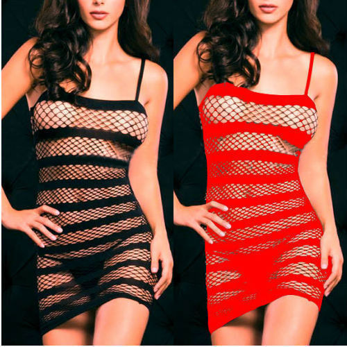 Sexy Lingerie Fishnet Crotchless Open Crotch Dress Bodystocking Fetish Black Red QA168(China (Mainland))