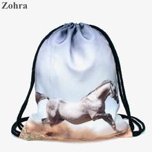Horse 3D printing Women Trend line Zohra brand mochila escolar sport drawstring bag Travel High quality backpack man Gym bags